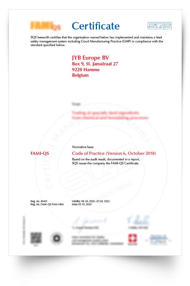 Distributor JYB EUROPE® Fami-Qs certification